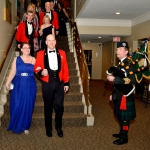 Commanding Officer, LCol James McKay and his wife Janet Wilson lead the dinner procession. Awaiting is Piper Major Mike Weaver