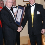 LCol (Retd) David Morkem receives the Commendation from Col Hutchings for his contributions to the success of the sesquicentennial.