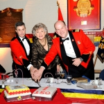 Cutting the Cake. Master Warrant Officer Dean M. Yuile, RSM/ The Right Honourable Beverley McLachlin, P.C., Chief Justice of Canada/ Lieutenant-Colonel James R. McKay