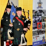 Princess of Wales' Own Regiment Pipes and Drums. Pipe Major Mike Weaver and OCdt Brendan Hogan