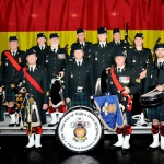 Regimental Pipes and Drums. First row: Keenan Weaver, Pipe Major Mike Weaver, Ivan McQuillan, Pipe Sergeant Gary McCurdie, Martyn Piper. Second row: Drum Sergeant Dave Vrooman, Heather Bardell, Doug Green, Paul Thompson, Brendan Hogan, Mike Muntain, Laura Geier-Ennis, Dave McGrath.