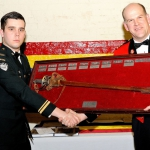 Lieutenant Davey and Lieutenant-Colonel James R. McKay. Lt Davey receiving the Subaltern Sword for Outstanding Junior Officer.
