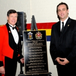 Presentation of the Mayors' Plaque. Honorary Colonel Mark Hutchings and Mayor Mark Gerretsen