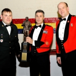 Sergeant Upton/ Master Warrant Officer Dean M. Yuile, RSM/ Lieutenant-Colonel James R. McKay. Sgt Upton received The Colonel D.W. Einarson Trophy awarded to the Senior Non-Commissioned Officer selected for Outstanding Leadership and Dedicated Loyalty.